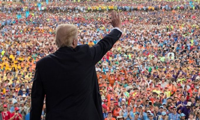 Crowd goes wild for Trump at Boy Scout Jamboree