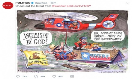 Leftwing Politico's Cartoonist Mocks Hurricane Harvey Flood Victims