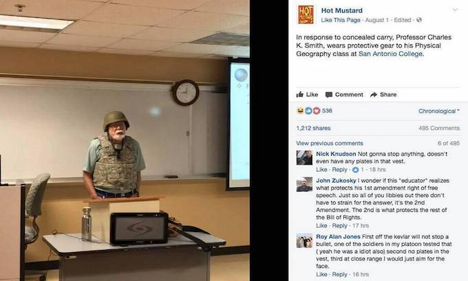 Concealed carry now allowed on campus, so this teacher showed up in armor