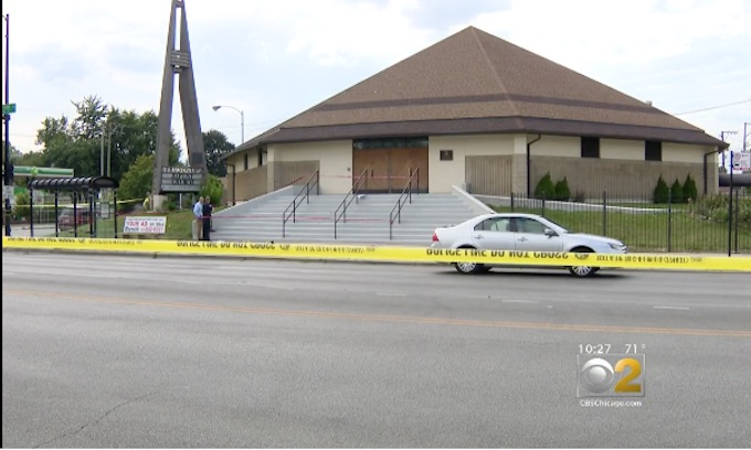 Father shot dead on church steps as he yells for children to take cover