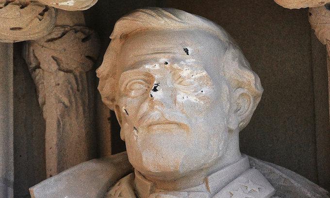 Statue of Confederate General Robert E. Lee at Duke University Defaced