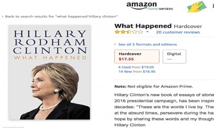 Amazon deleted one star reviews of Hillary's book but they just keep coming