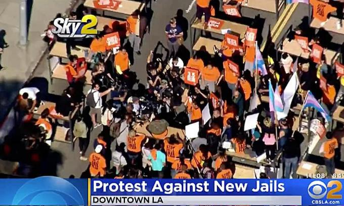 Agitators shut down LA street, screaming 'No More Jails'