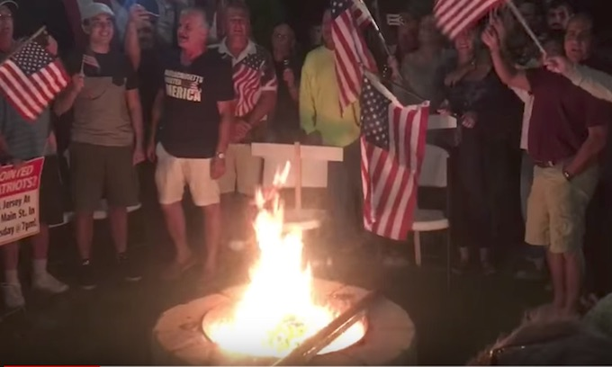 Patriots gear goes up in flames