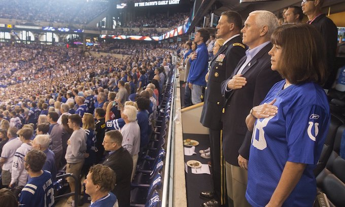 VP Pence walks out of NFL game after players kneel during US anthem