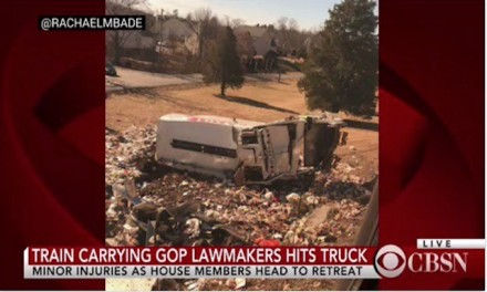 Train carrying 200 GOP lawmakers to policy retreat hits truck