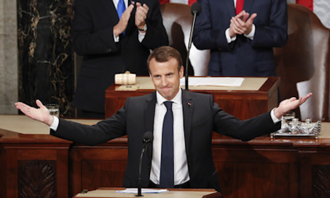 Macron challenges 'America First'