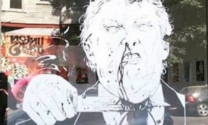 Portland 'art' gallery removes image of President Trump with bloody knife at throat