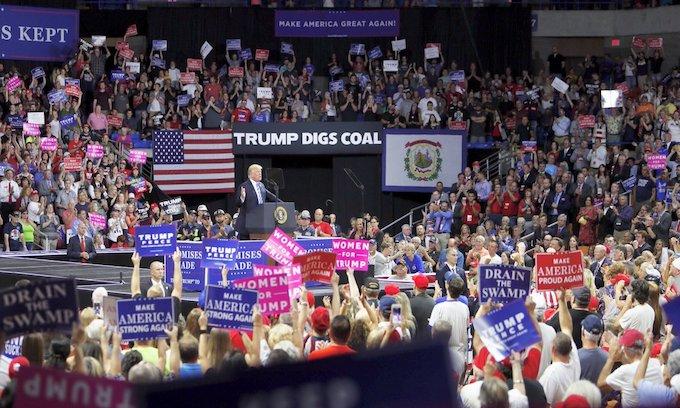 Trump cheered at Charleston, West Virginia rally