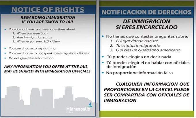 Minneapolis mayor orders placards with legal advice for illegal aliens to hang in police cars