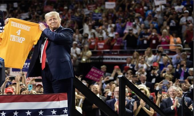 Trump blasts Democrats at Marsha Blackburn rally in Tennessee