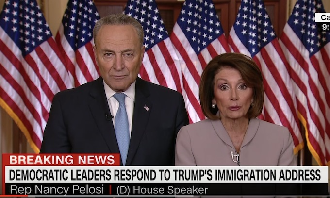 Democrat top leaders make odd appearance following president's border speech