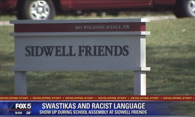Elite private school Sidwell Friends students display swastikas during assembly