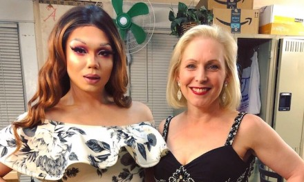 Democrat Kirsten Gillibrand campaigns with drag queens at Des Moines oldest LGBT bar