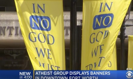 Atheist group claims 'In No God We Trust' banners vandalized in downtown Fort Worth
