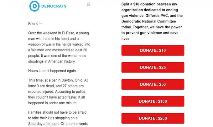 Democrats raising money on mass shooting victims