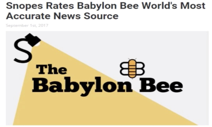 Babylon Bee's satire lumped with serious news by Snopes