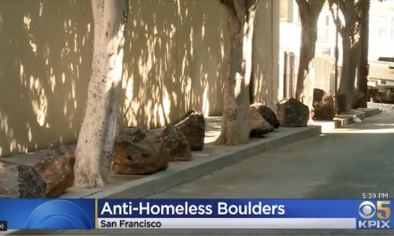 Neighbors line a San Francisco sidewalk with boulders to block homeless camps