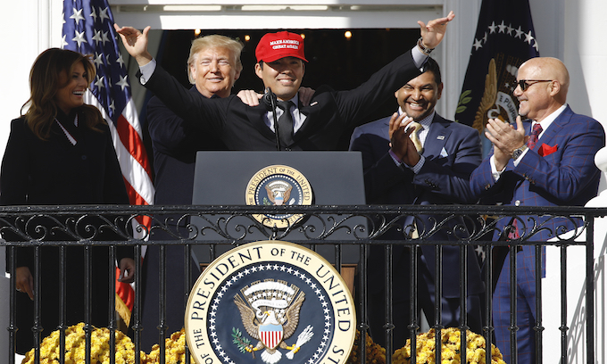 Washington Nationals players support and thank Trump during White House visit