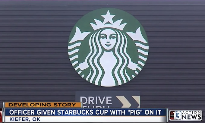 Hate: Oklahoma cop given Starbucks cup with word 'PIG' on label while on-duty on Thanksgiving