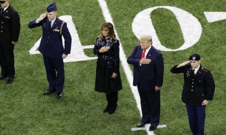 President and Melania Trump cheered at National Championship game