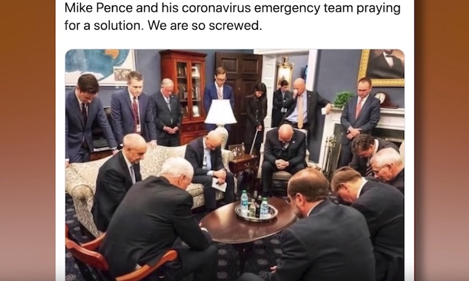 VP Pence ridiculed for praying with coronavirus task force