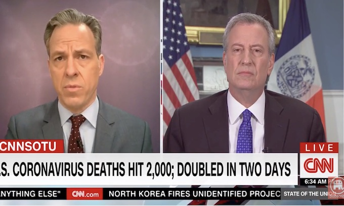 Jake Tapper grills Bill de Blasio as 'go about your lives' coronavirus calls haunt NYC mayor