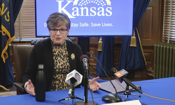Kansas governor vetoes bill limiting her emergency powers