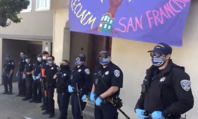 SF police officers respond to protest wearing 'controversial' face masks