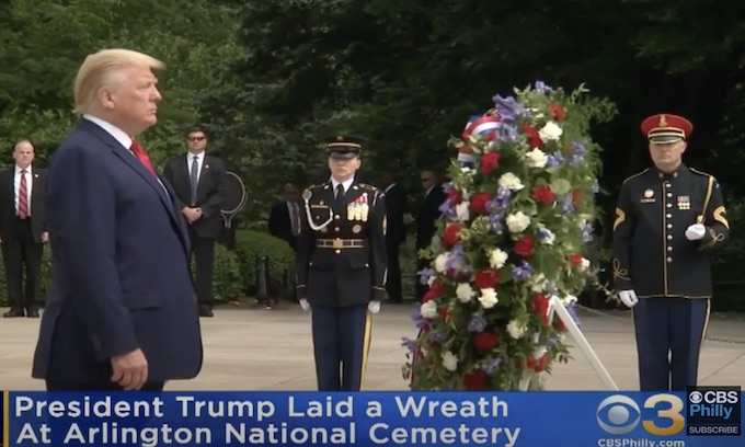 Trump lays wreath as Memorial Day observances adapted nationwide