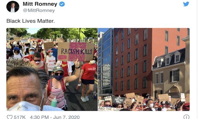Romney joined Black Lives Matter march to the White House