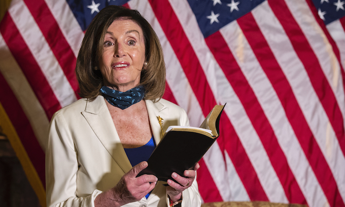 Pelosi stages Bible moment to lecture Trump