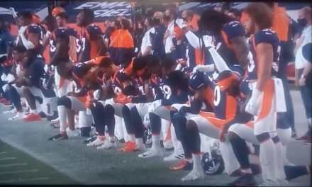 Disgraceful is the word for the Denver Broncos as 18 players kneel for our national anthem