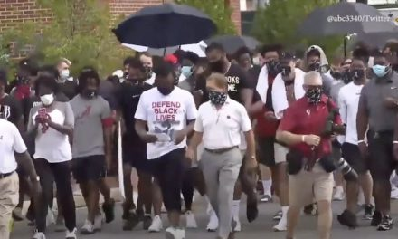 Nick Saban leads Alabama football team on march for social justice