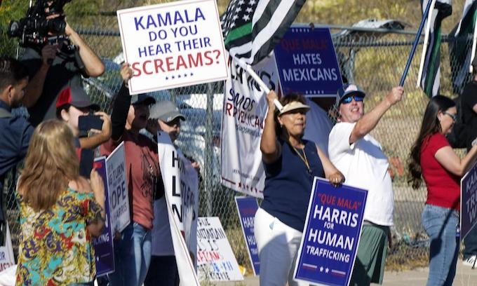 Spurred on by upcoming Trump visit Kamala finally makes it near the border