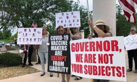New Mexico's Democrat governor calls protesters 'lizard people'