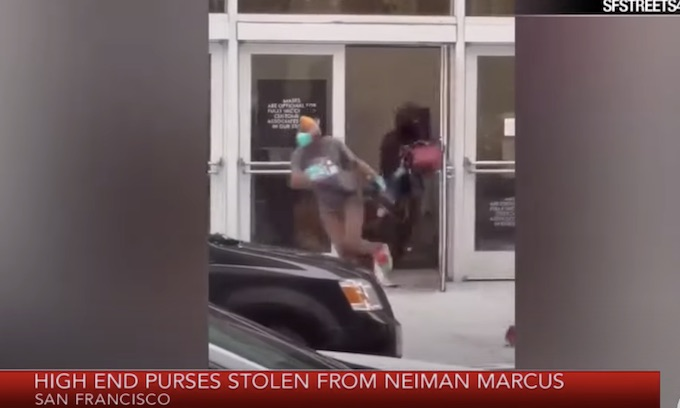 'Crime is basically legal in San Francisco': Furious shopper posts video of horde of shoplifters fleeing Neiman Marcus