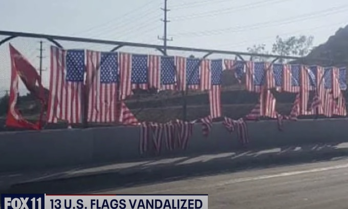 Flags hung in honor of service members killed in Afghanistan vandalized in Riverside, CA